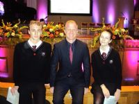 Apprentice Star Adam Corbally congratulates successful students